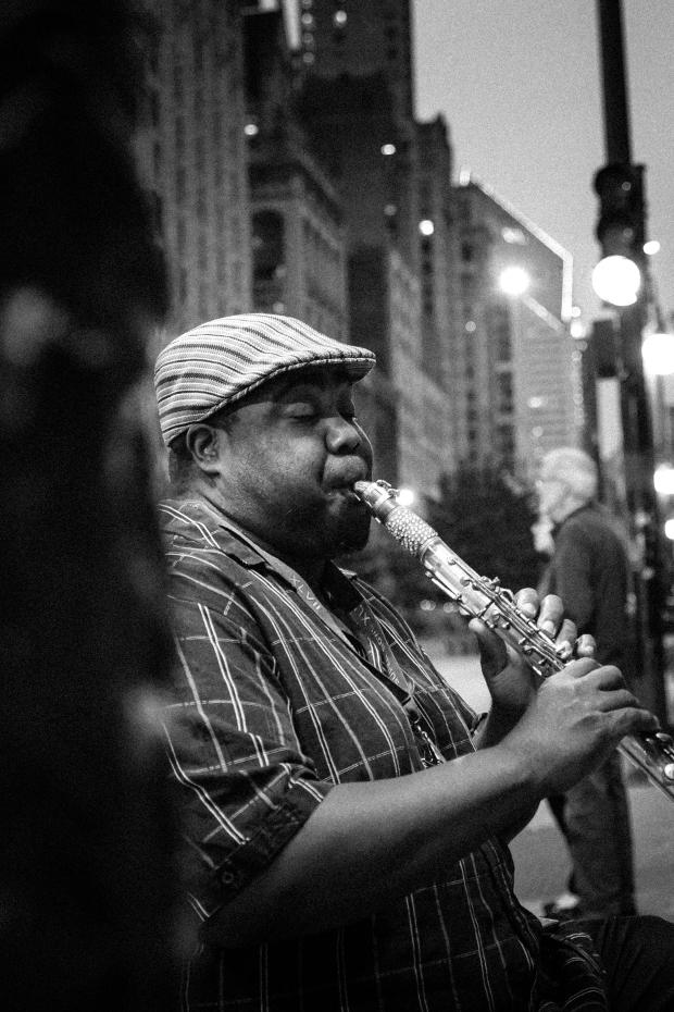 Busker Extraordinaire, Kaliq Woods, Michigan Avenue, Chicago - 2014