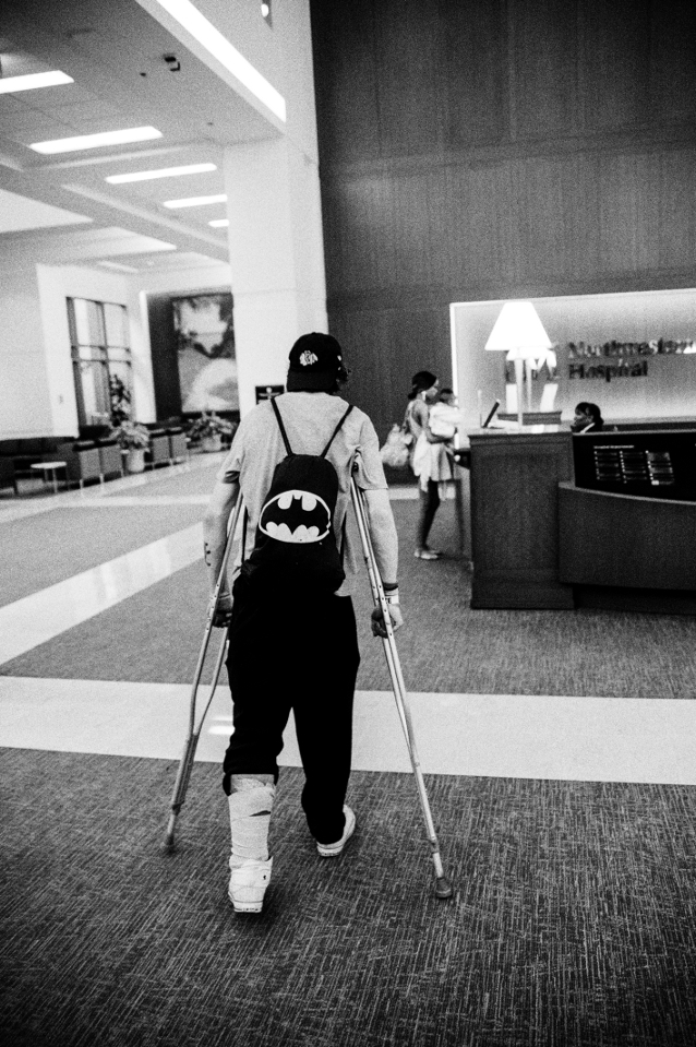 Shaggy enters the lobby of Northwester Hospital to seek treatment for a bone and blood infection.