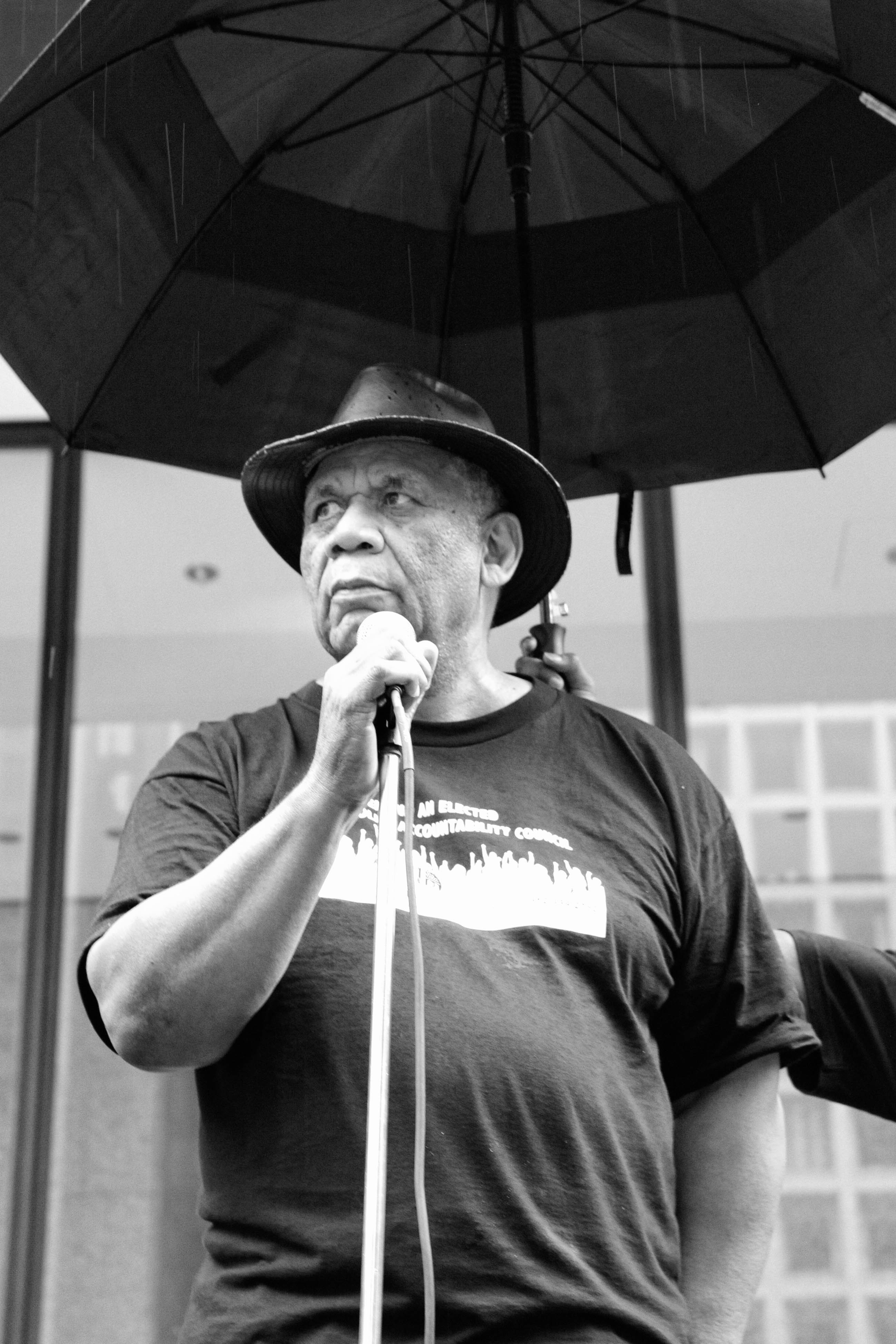 CHICAGO, IL. Aug. 29, 2015 - Frank Chapman, field organizer for the Chicago Alliance Against Racist and Political Repression, speaks to demonstrators in Chicago's Daley Plaza during a rally to end police violence.