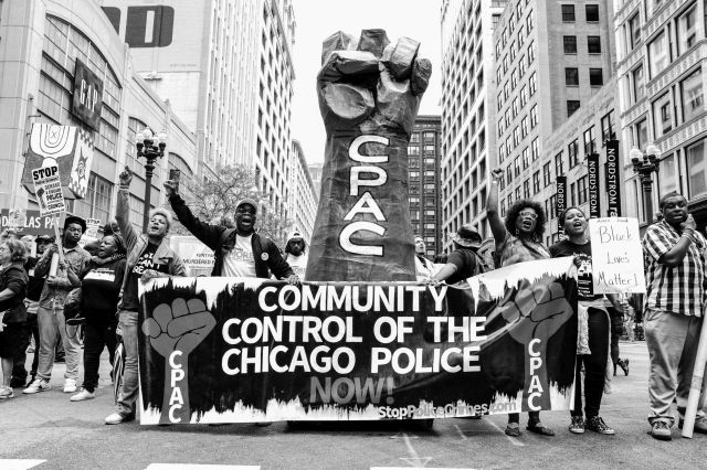 CHICAGO, IL. Aug. 29, 2015 - Hundreds of protesters marched through the streets of Chicago to demand that the Chicago City Council create a civilian police accountability council, which would have the power to conduct community oversight of the Chicago police.