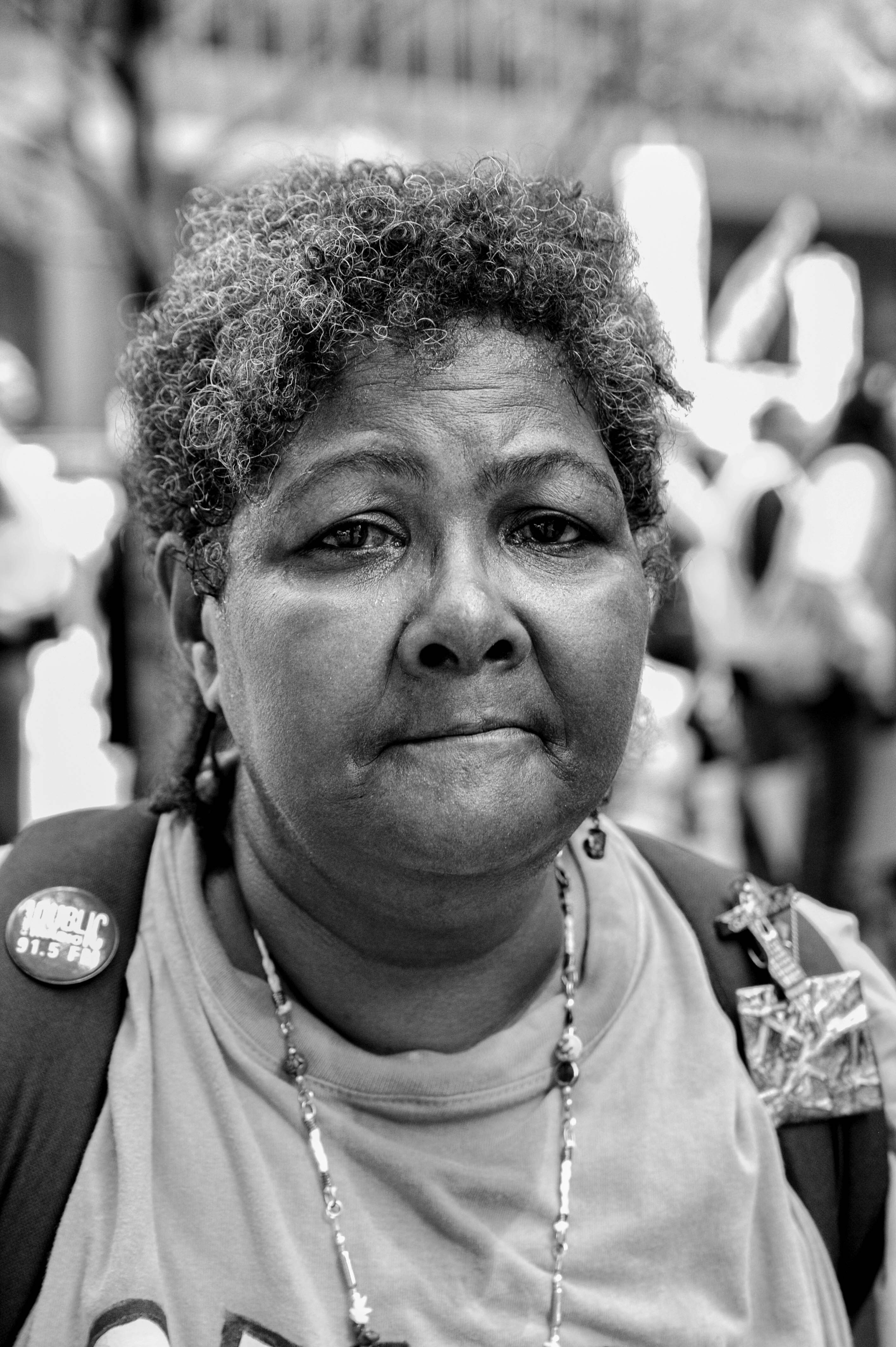 CHICAGO, IL. Aug. 29, 2015 - Sharon Pena, a lifelong Chicago resident, came out to express her view that African Americans need to start taking care of their own communities rather than blaming others.