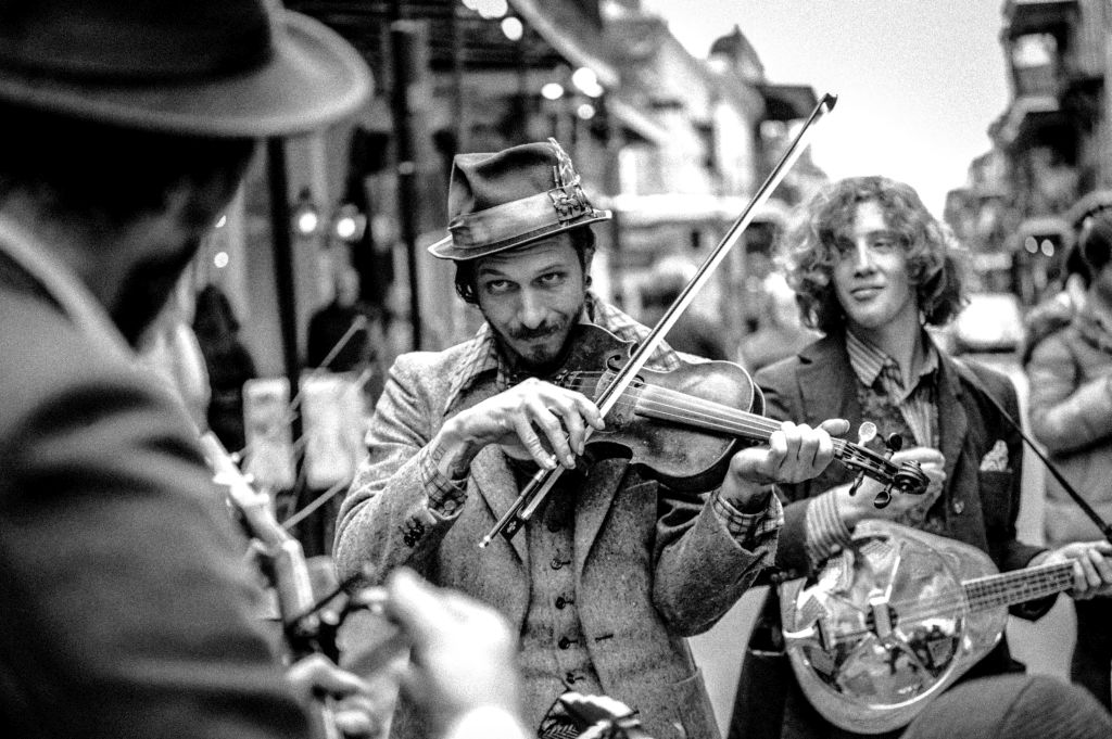Jonathan Ratliff of St. Cinder playing his violin on Royal Street in the French Quarter on January 2, 2016. Photo by chuckjines.com