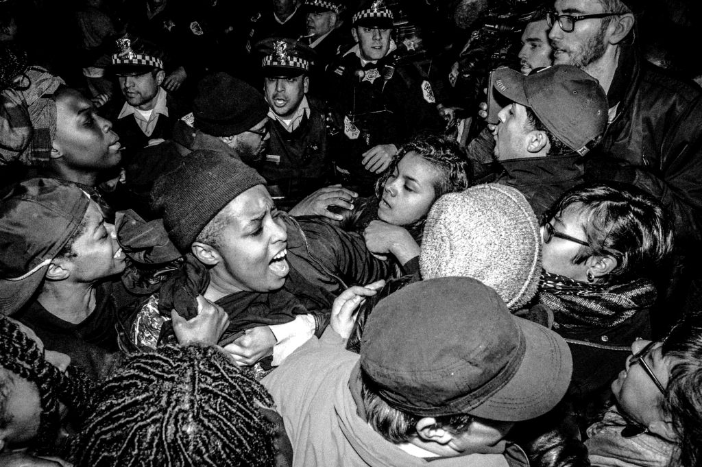 Pandemonium erupts as #Trump protesters clash with police in #Chicago. Donald J. Trump