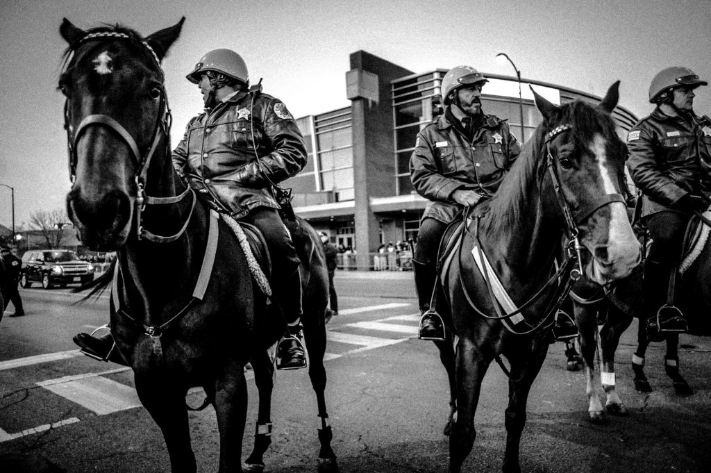 Chicago Police Mounted Unit, ‪‎Trump Rally‬, ‪Chicago‬ 2016