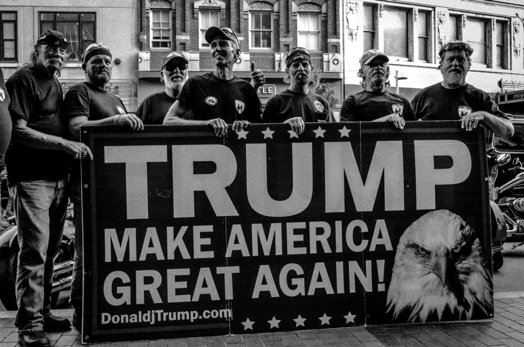 """Cleveland, Ohio. 19th July, 2016. """"Bikers for Trump"""" mobilized during the 2016 Republican National Convention in Cleveland, Ohio to help provide a barrier between violent Anti-Trump protesters, and those who wish to publicly support Trump."""
