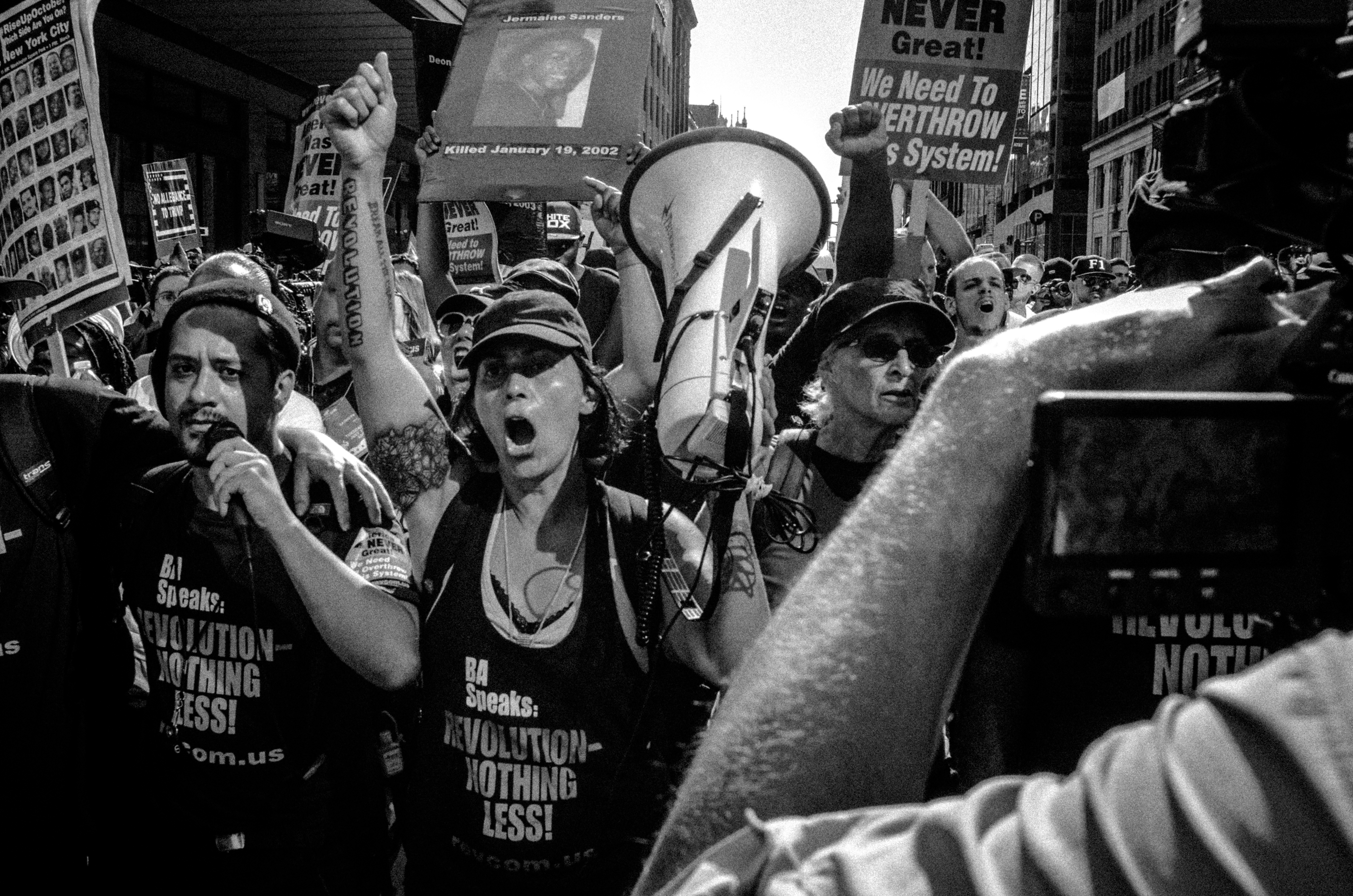 Cleveland, Ohio. 19th July, 2016. Cleveland, Ohio. 19th July, 2016. Bob Avakian communists chant for revolution as they lead a small group of demonstrators during the 2016 Republican National Convention in Cleveland, Ohio.